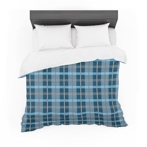 "afe images ""Blue Plaid Pattern"" Blue Multicolor Illustration Featherweight Duvet Cover"