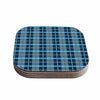 "afe images ""Blue Plaid Pattern"" Blue Multicolor Illustration Coasters (Set of 4)"