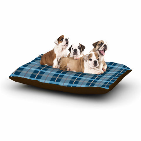 "afe images ""Blue Plaid Pattern"" Blue Multicolor Illustration Dog Bed - KESS InHouse  - 1"