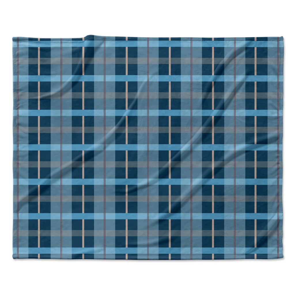 "afe images ""Blue Plaid Pattern"" Blue Multicolor Illustration Fleece Throw Blanket"