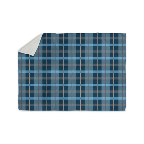 "afe images ""Blue Plaid Pattern"" Blue Multicolor Illustration Sherpa Blanket - KESS InHouse"