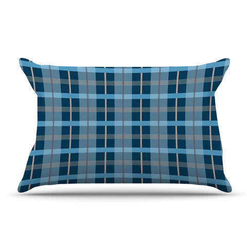 "afe images ""Blue Plaid Pattern"" Blue Multicolor Illustration Pillow Sham - KESS InHouse  - 1"