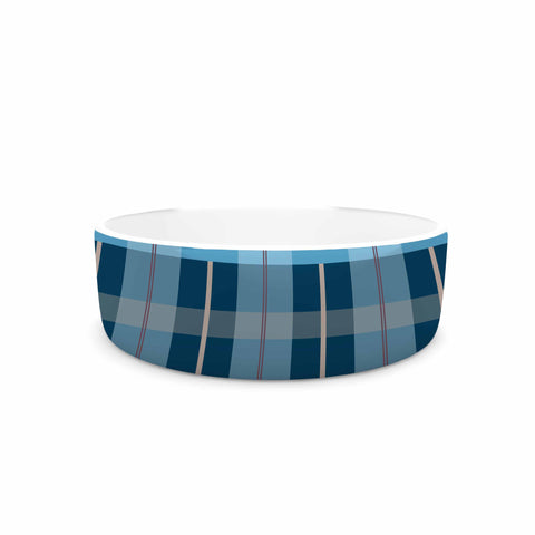 "afe images ""Blue Plaid Pattern"" Blue Multicolor Illustration Pet Bowl - KESS InHouse"