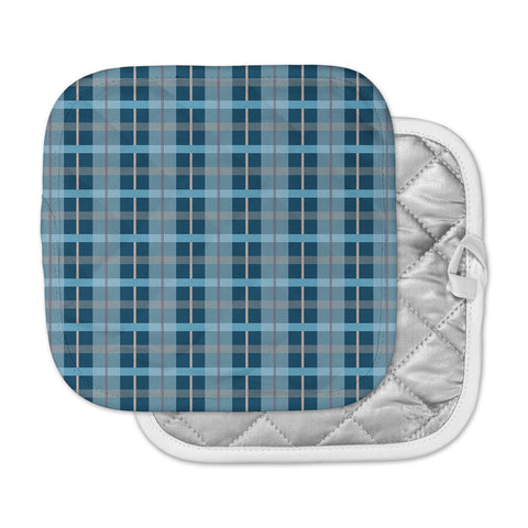 "afe images ""Blue Plaid Pattern"" Blue Multicolor Illustration Pot Holder"