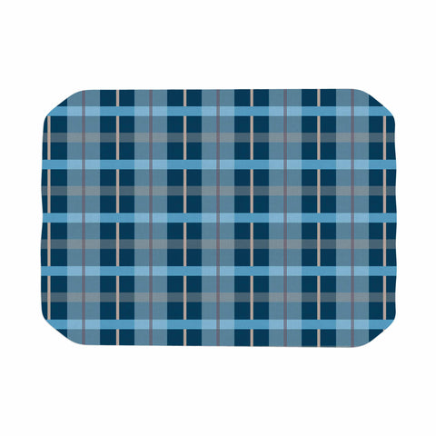 "afe images ""Blue Plaid Pattern"" Blue Multicolor Illustration Place Mat - KESS InHouse"