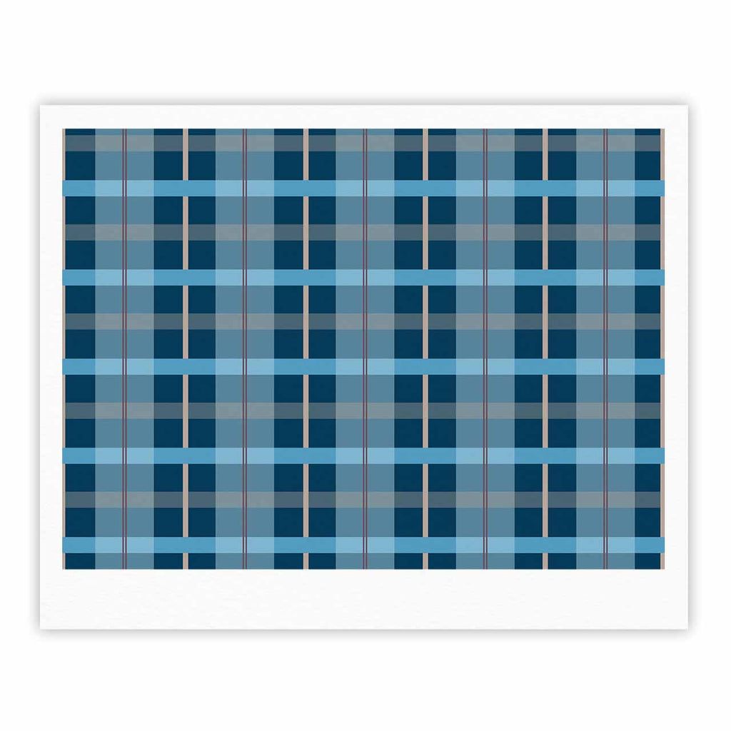 "afe images ""Blue Plaid Pattern"" Blue Multicolor Illustration Fine Art Gallery Print - KESS InHouse"