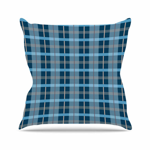"afe images ""Blue Plaid Pattern"" Blue Multicolor Illustration Outdoor Throw Pillow - KESS InHouse  - 1"