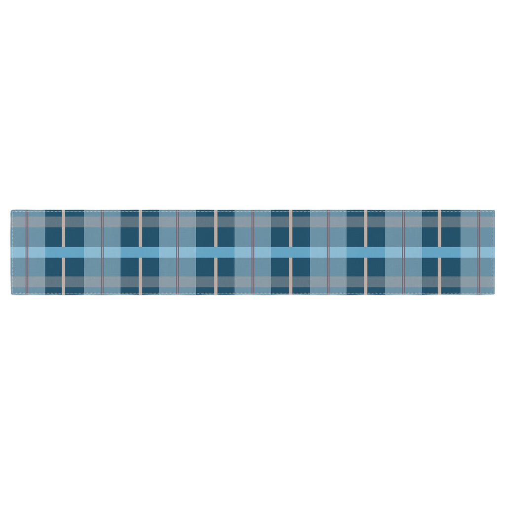 "afe images ""Blue Plaid Pattern"" Blue Multicolor Illustration Table Runner - KESS InHouse  - 1"