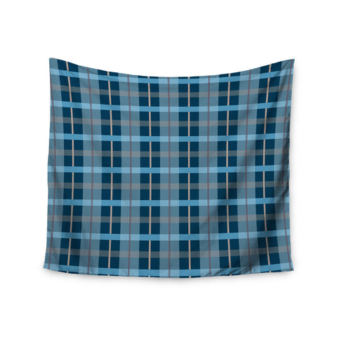 "afe images ""Blue Plaid Pattern"" Blue Multicolor Illustration Wall Tapestry - KESS InHouse  - 1"