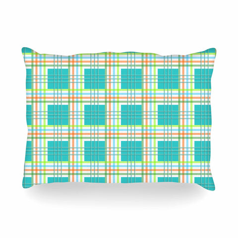 "afe images ""Modern Plaid Pattern"" Teal Green Illustration Oblong Pillow - KESS InHouse"