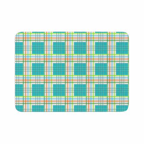 "afe images ""Modern Plaid Pattern"" Teal Green Illustration Memory Foam Bath Mat - KESS InHouse"