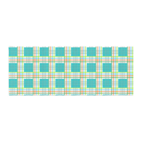 "afe images ""Modern Plaid Pattern"" Teal Green Illustration Bed Runner - KESS InHouse  - 1"