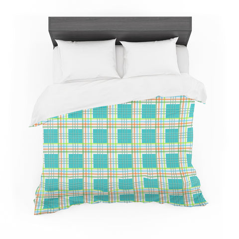 "afe images ""Modern Plaid Pattern"" Teal Green Illustration Featherweight Duvet Cover"