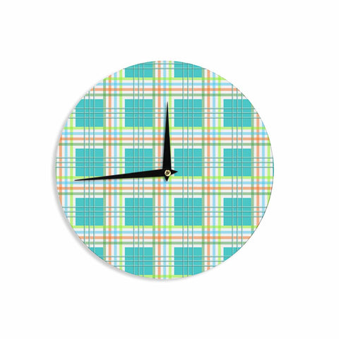 "afe images ""Modern Plaid Pattern"" Teal Green Illustration Wall Clock - KESS InHouse"