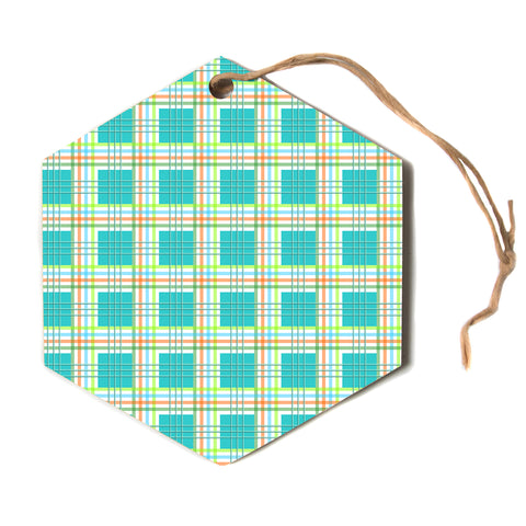 "afe images ""Modern Plaid Pattern"" Teal Green Paisley Pattern Illustration Digital Hexagon Holiday Ornament"