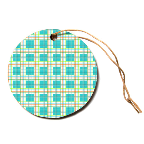 "afe images ""Modern Plaid Pattern"" Teal Green Paisley Pattern Illustration Digital Circle Holiday Ornament"