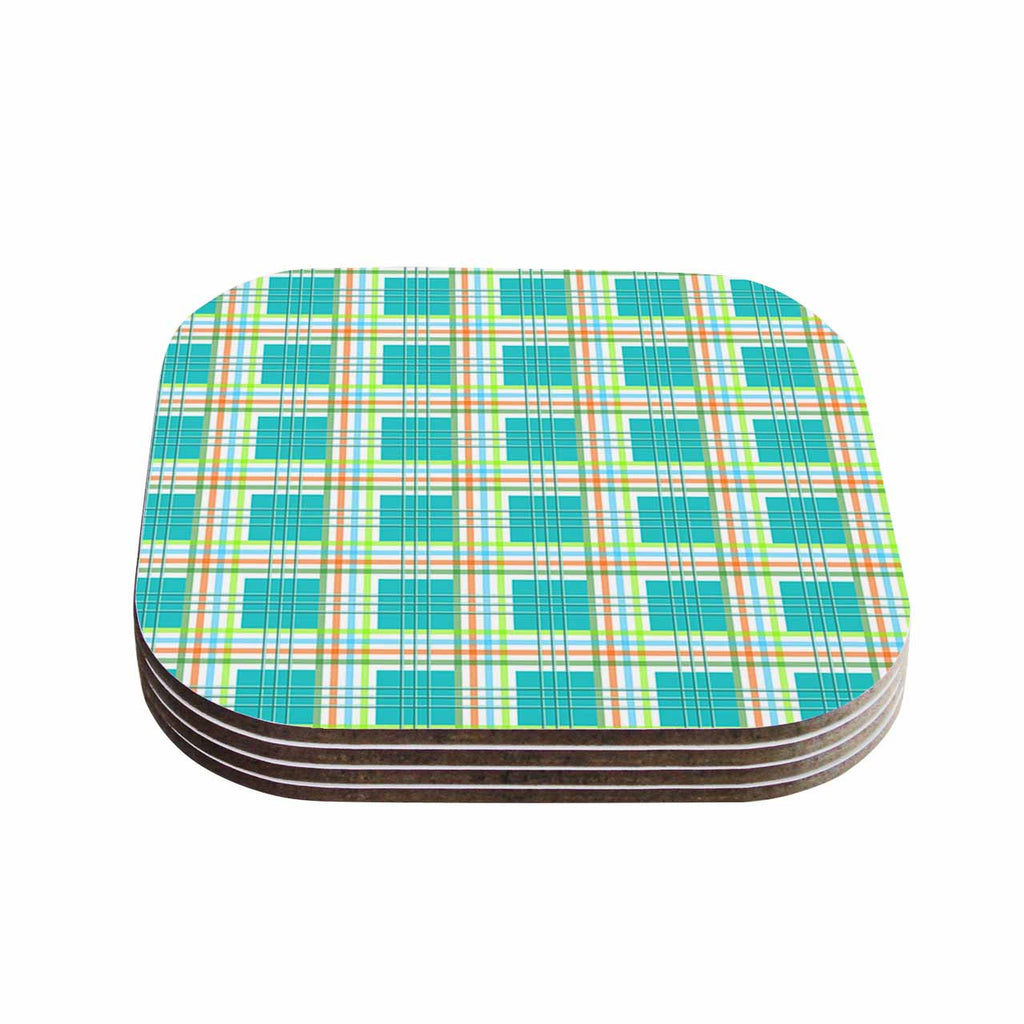 "afe images ""Modern Plaid Pattern"" Teal Green Illustration Coasters (Set of 4)"