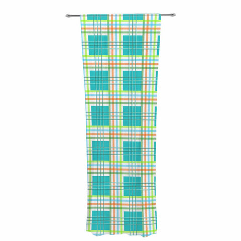 "afe images ""Modern Plaid Pattern"" Teal Green Illustration Decorative Sheer Curtain - KESS InHouse  - 1"