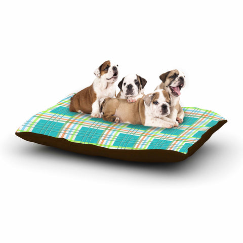 "afe images ""Modern Plaid Pattern"" Teal Green Illustration Dog Bed - KESS InHouse  - 1"