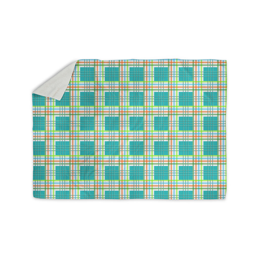 "afe images ""Modern Plaid Pattern"" Teal Green Illustration Sherpa Blanket - KESS InHouse"