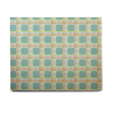 "afe images ""Modern Plaid Pattern"" Teal Green Illustration Birchwood Wall Art - KESS InHouse  - 1"