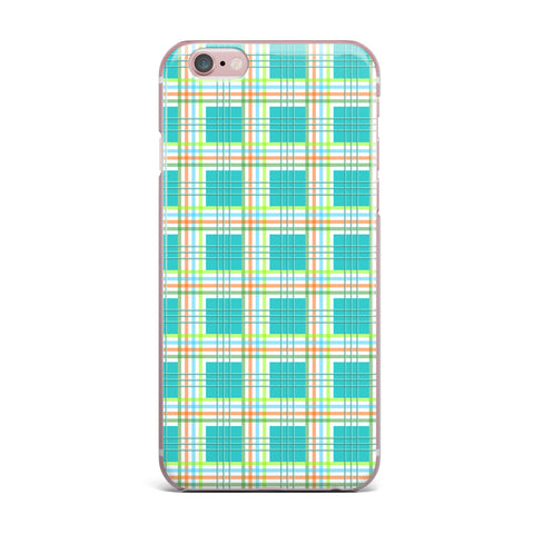 "afe images ""Modern Plaid Pattern"" Teal Green Illustration iPhone Case - KESS InHouse"