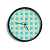 "AFE Images ""Modern Plaid Pattern"" Teal Green Paisley Pattern Illustration Digital Modern Wall Clock"