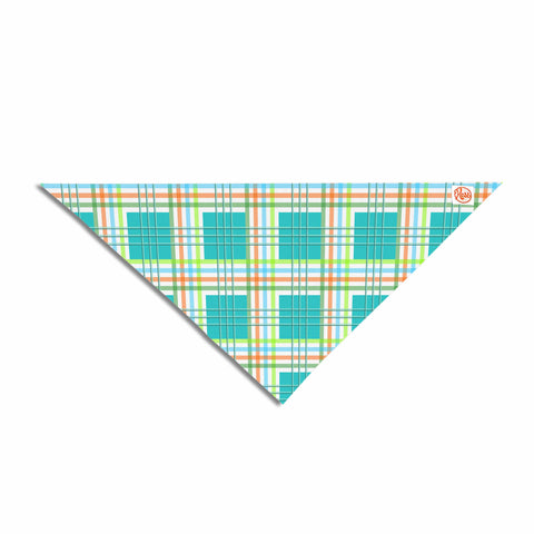 "afe images ""Modern Plaid Pattern"" Teal Green Illustration Pet Bandana - KESS InHouse  - 1"
