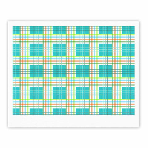 "afe images ""Modern Plaid Pattern"" Teal Green Illustration Fine Art Gallery Print - KESS InHouse"