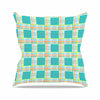 "afe images ""Modern Plaid Pattern"" Teal Green Illustration Outdoor Throw Pillow - KESS InHouse  - 1"