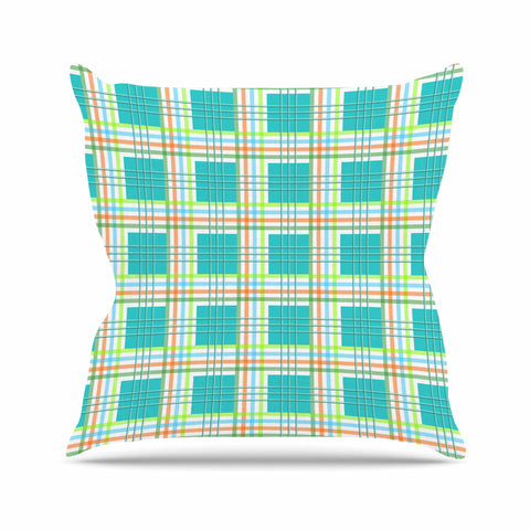 "afe images ""Modern Plaid Pattern"" Teal Green Illustration Throw Pillow - KESS InHouse  - 1"