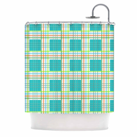 "afe images ""Modern Plaid Pattern"" Teal Green Illustration Shower Curtain - KESS InHouse"