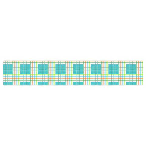 "afe images ""Modern Plaid Pattern"" Teal Green Illustration Table Runner - KESS InHouse  - 1"