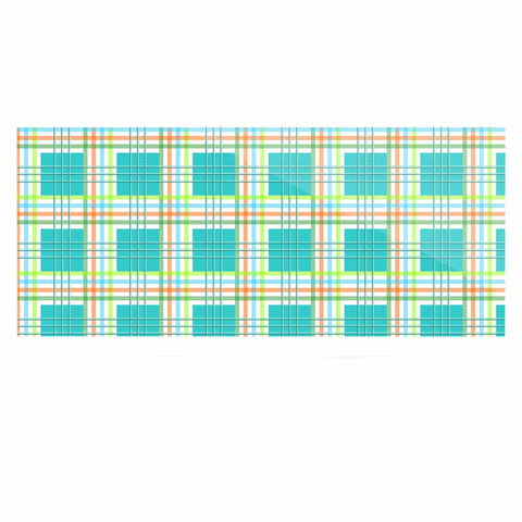 "afe images ""Modern Plaid Pattern"" Teal Green Illustration Luxe Rectangle Panel - KESS InHouse  - 1"