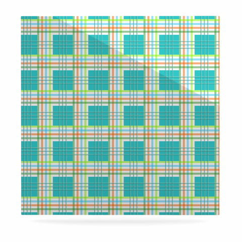 "afe images ""Modern Plaid Pattern"" Teal Green Illustration Luxe Square Panel - KESS InHouse  - 1"