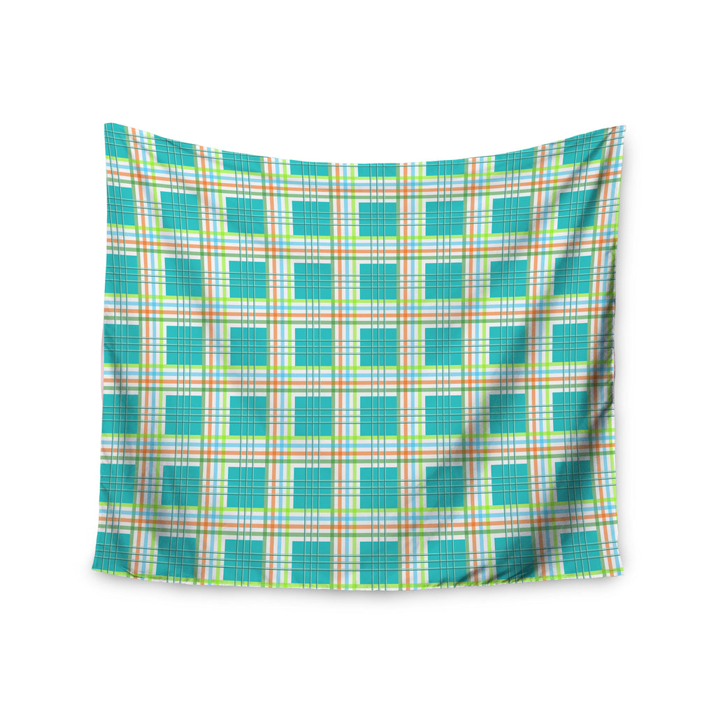 "afe images ""Modern Plaid Pattern"" Teal Green Illustration Wall Tapestry - KESS InHouse  - 1"