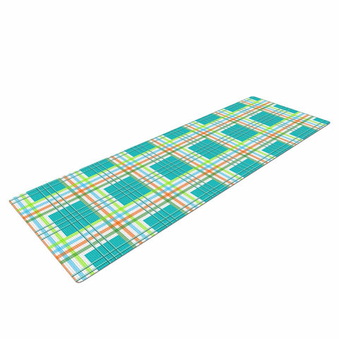 "afe images ""Modern Plaid Pattern"" Teal Green Illustration Yoga Mat - KESS InHouse  - 1"