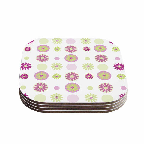 "afe images ""Purple Floral Pattern"" Pink Multicolor Digital Coasters (Set of 4)"