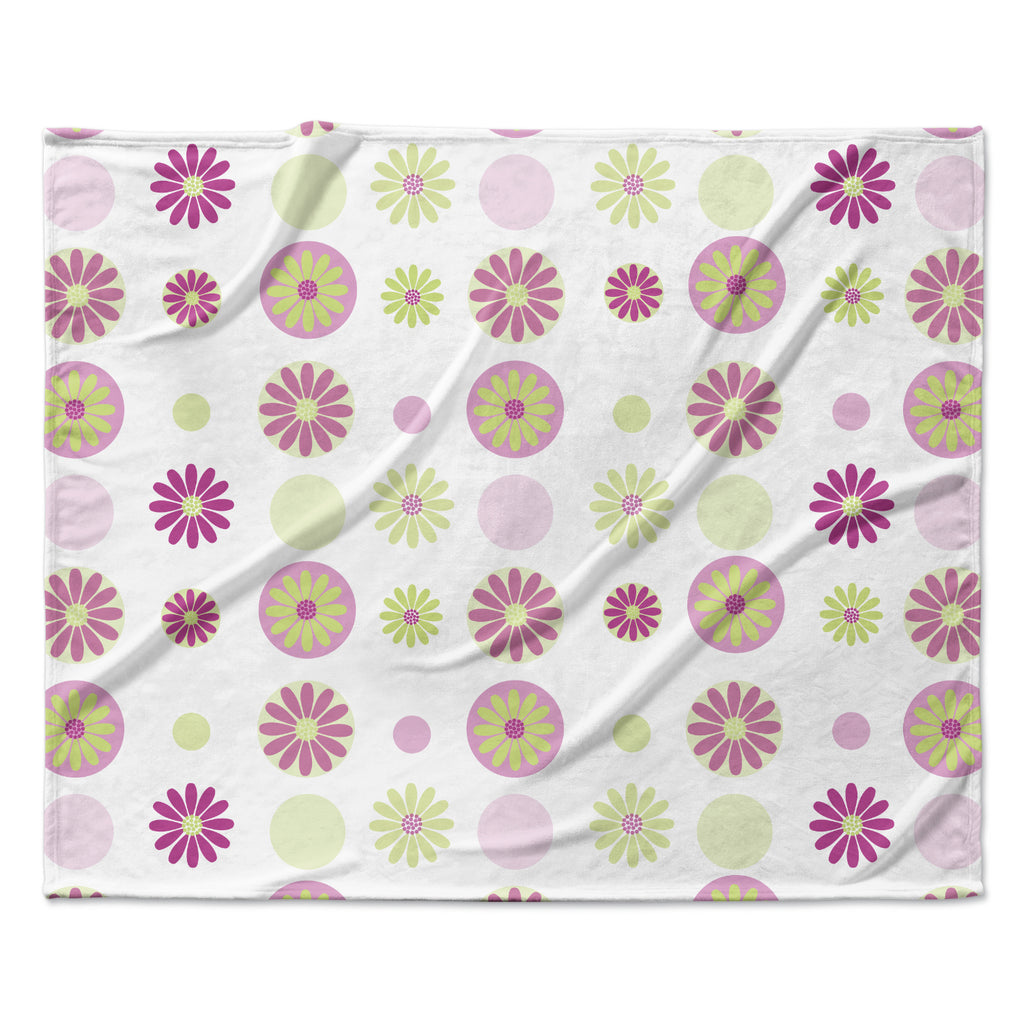 "afe images ""Purple Floral Pattern"" Pink Multicolor Digital Fleece Throw Blanket"