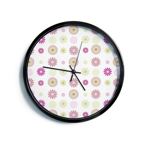 "AFE Images ""Purple Floral Pattern"" Pink Multicolor Floral Nature Digital Illustration Modern Wall Clock"