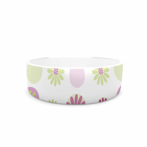 "afe images ""Purple Floral Pattern"" Pink Multicolor Digital Pet Bowl - KESS InHouse"