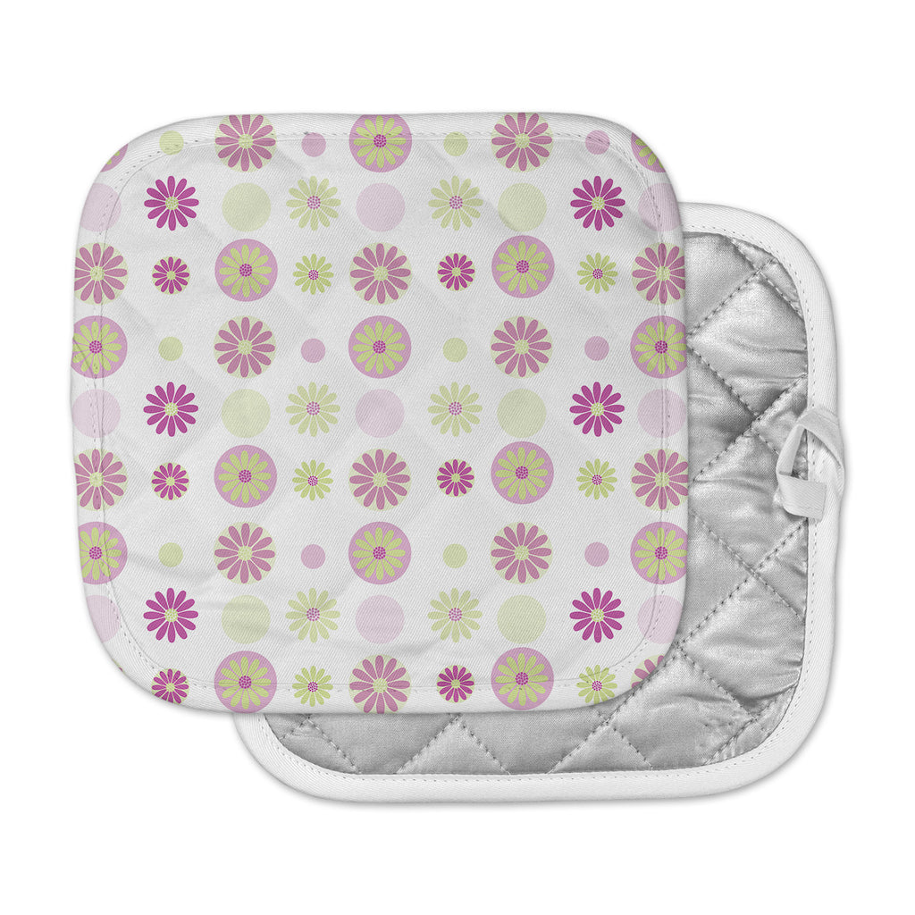 "afe images ""Purple Floral Pattern"" Pink Multicolor Digital Pot Holder"