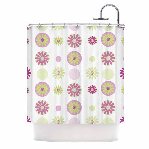 "afe images ""Purple Floral Pattern"" Pink Multicolor Digital Shower Curtain - KESS InHouse"
