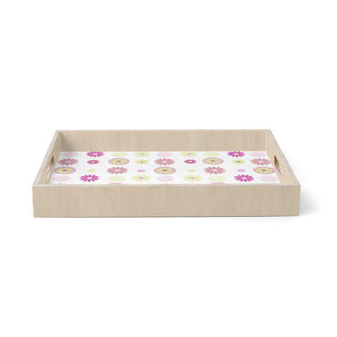 "afe images ""Purple Floral Pattern"" Pink Multicolor Floral Nature Digital Illustration Birchwood Tray"