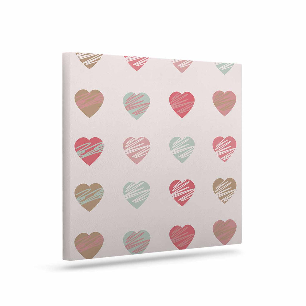 "afe images ""Pastel Hearts Pattern"" Pink Red Illustration Canvas Art - KESS InHouse  - 1"