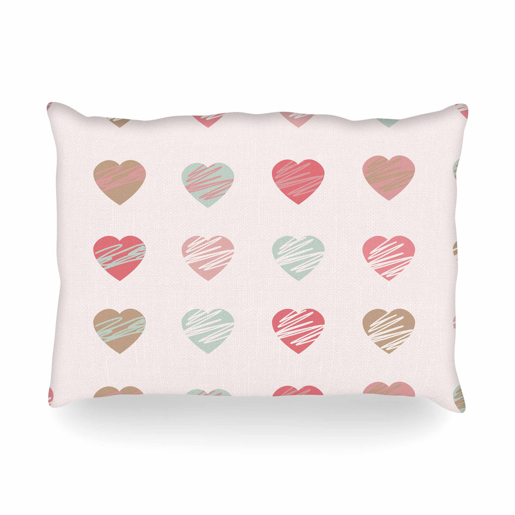 "afe images ""Pastel Hearts Pattern"" Pink Red Illustration Oblong Pillow - KESS InHouse"
