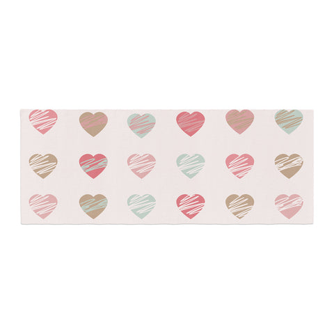 "afe images ""Pastel Hearts Pattern"" Pink Red Illustration Bed Runner - KESS InHouse  - 1"