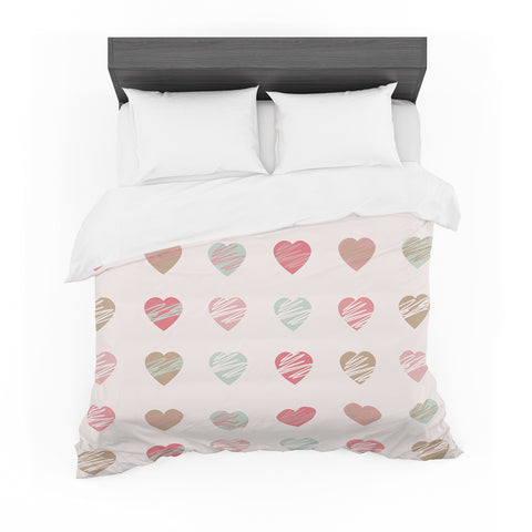 "afe images ""Pastel Hearts Pattern"" Pink Red Illustration Featherweight Duvet Cover - KESS InHouse  - 1"