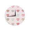 "afe images ""Pastel Hearts Pattern"" Pink Red Illustration Wall Clock - KESS InHouse"