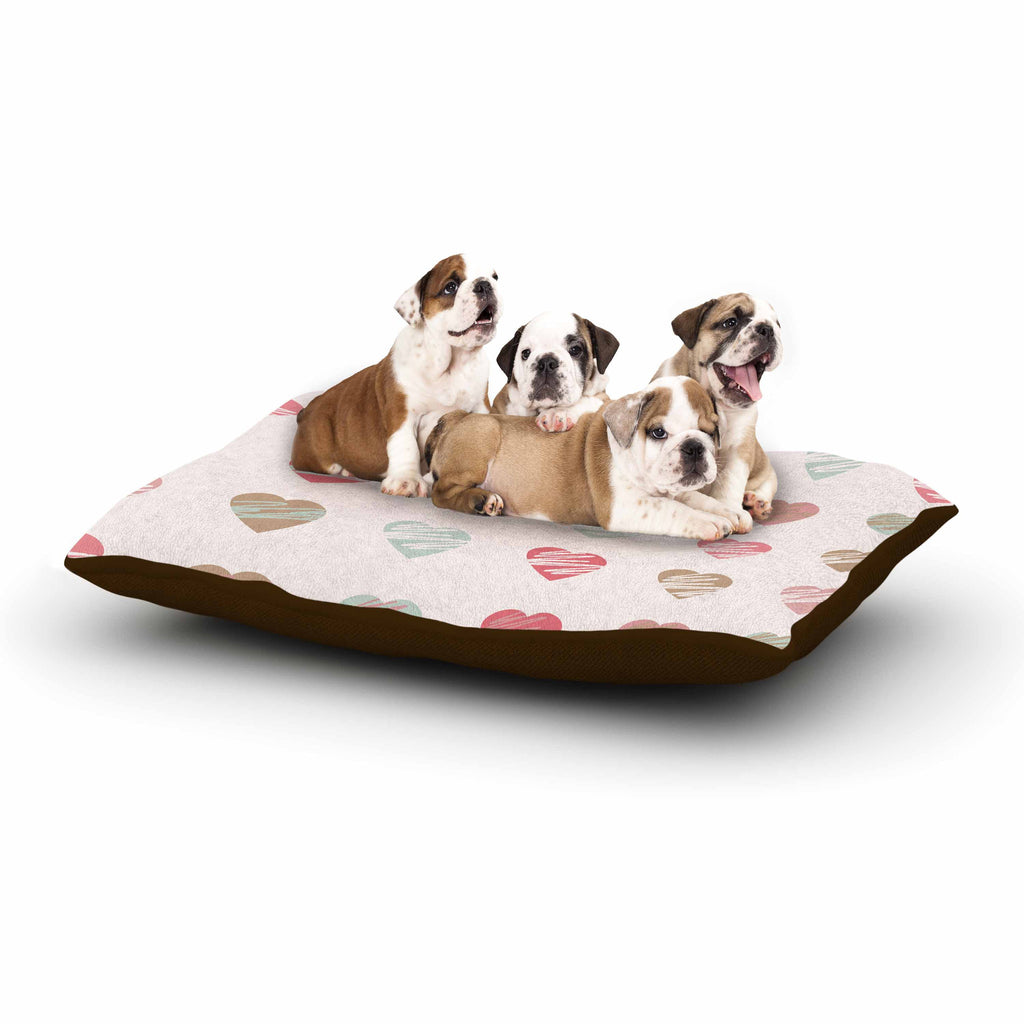 "afe images ""Pastel Hearts Pattern"" Pink Red Illustration Dog Bed - KESS InHouse  - 1"